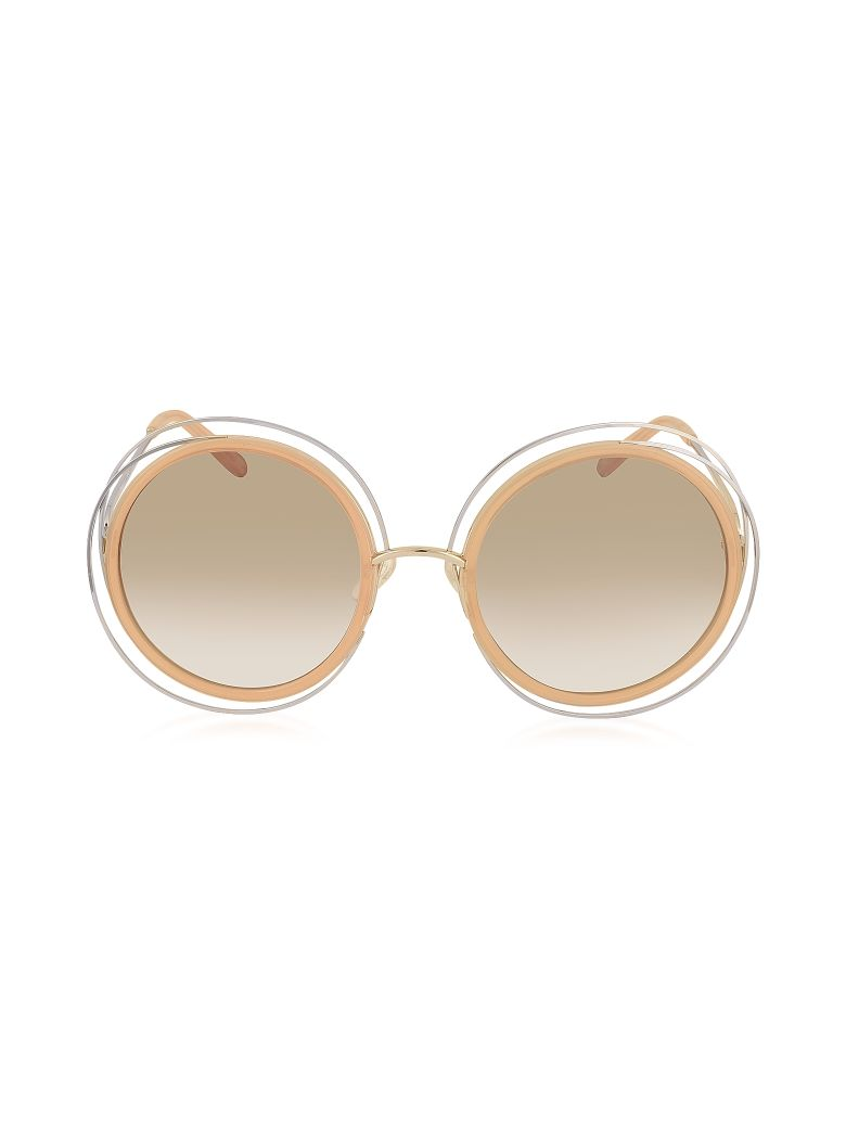 afd0bfbefe1 ChloÉ Chloe Carlina Ce 120S Round Oversized Acetate   Metal Womens  Sunglasses In Pink And Gold