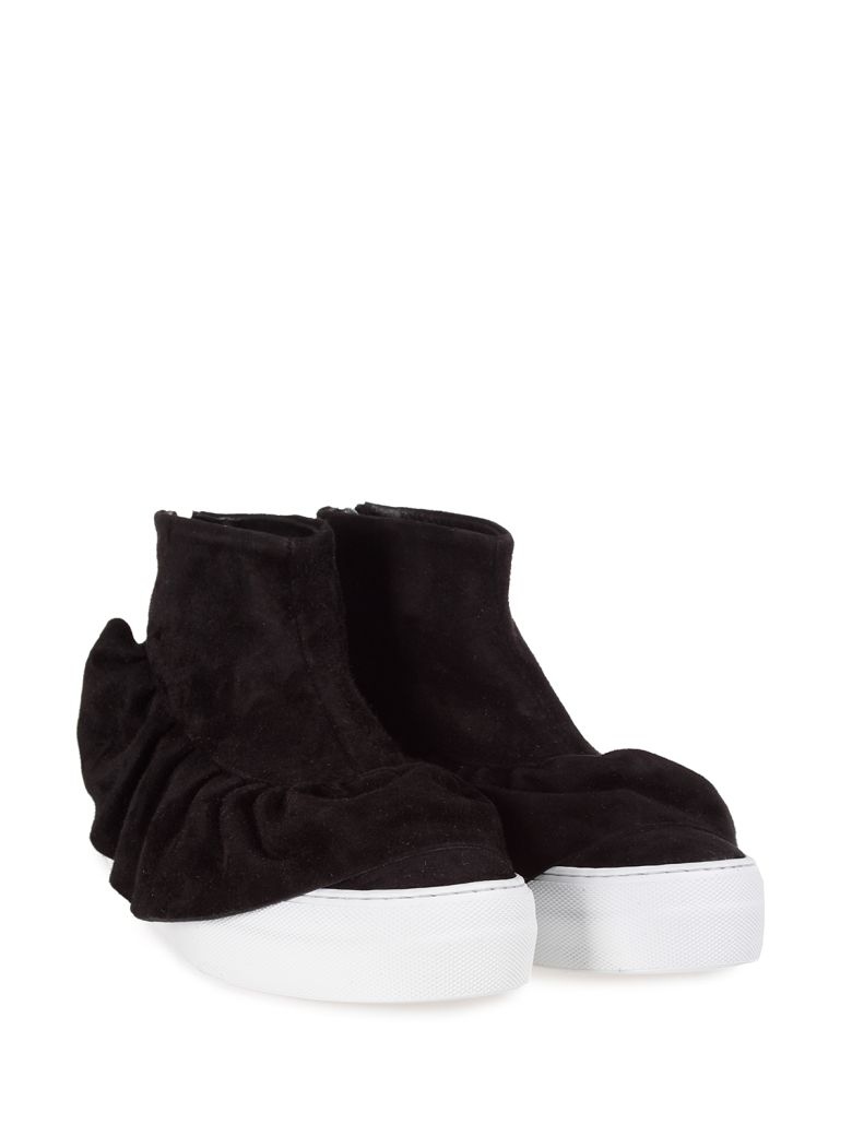 RUCHED SUEDE HIGH-TOP SNEAKERS