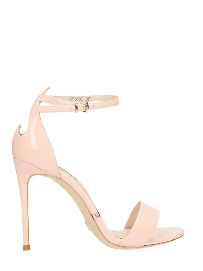 HEART POWDER PATENT LEATHER SANDALS