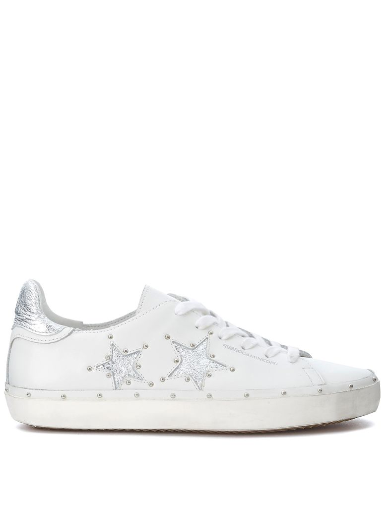 MICHELL WHITE AND SILVER LEATHER SNEAKER WITH STUDS