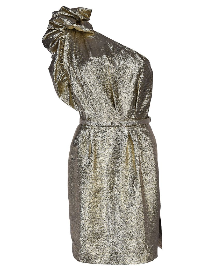 c3061002cf6 Stella Mccartney Polly Metallic One-Shoulder Cocktail Dress - Gold Size 38  It