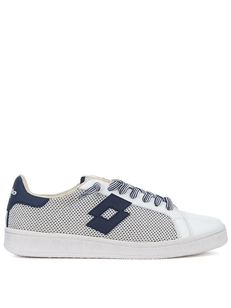 LOTTO LEGGENDA Autograph Blue And White Leather And Mesh Sneaker in Bianco