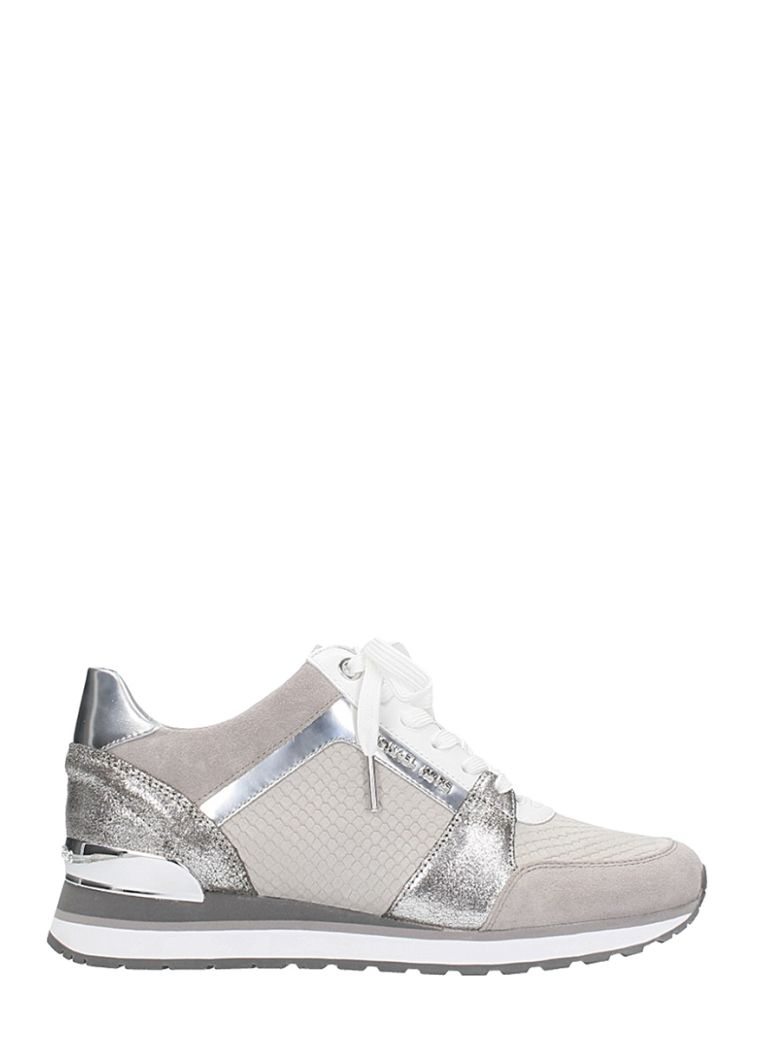 MICHAEL KORS BILLIE TRAINER GREY SILVER SCUBA MESH SNEAKERS