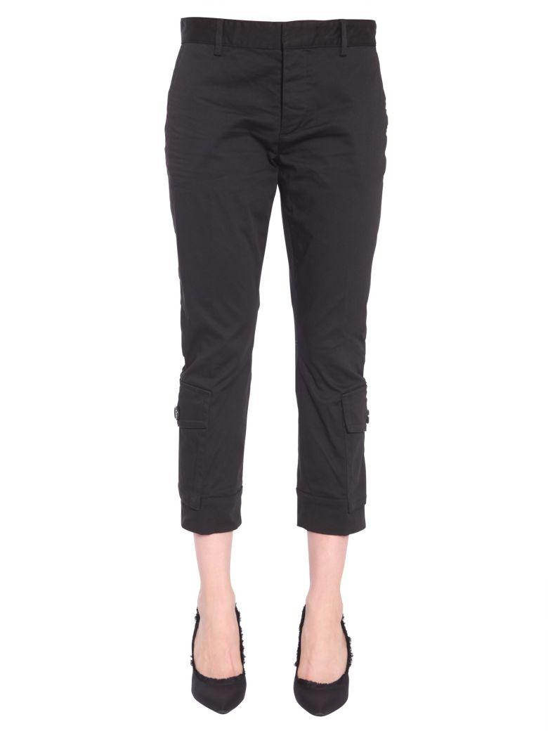Cotton Twill Trousers, Nero