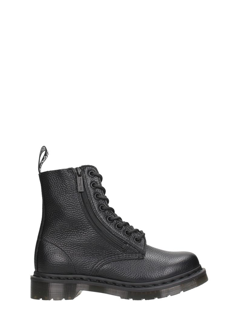 PASCAL W ZIP BLACK LEATHER BOOTS
