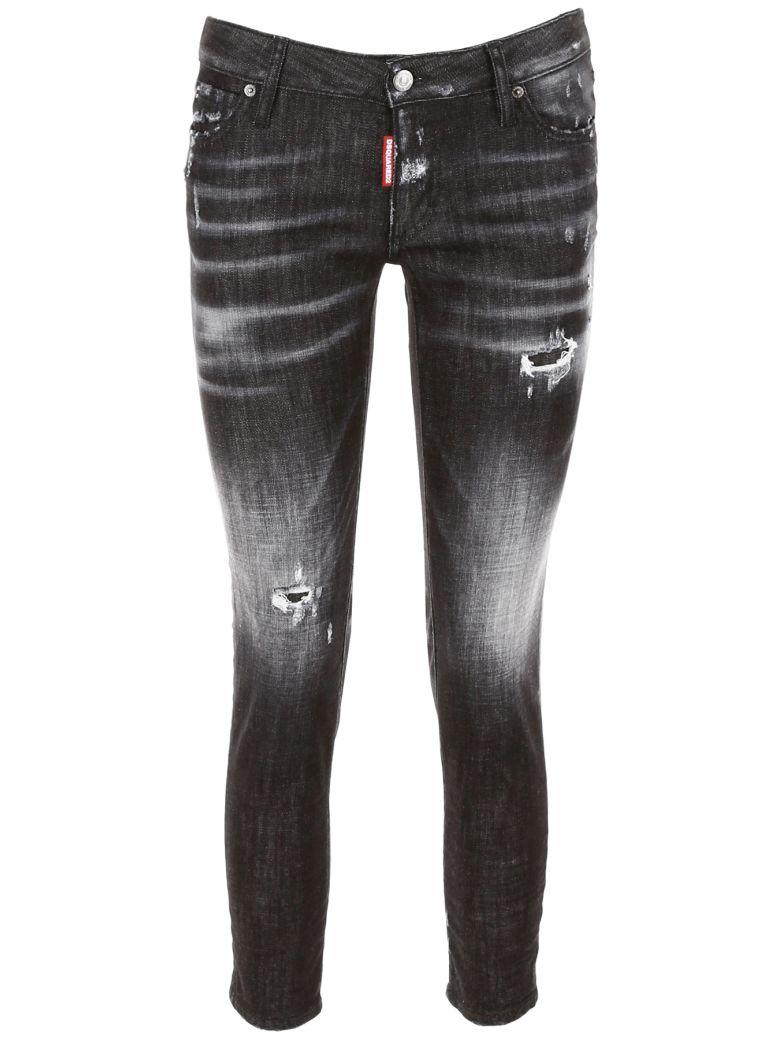 Dsquared2 Super Skinny Cropped Jeans - BLACK Nero