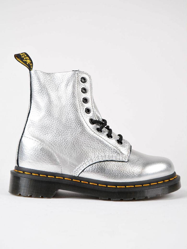 8 EYELETS SILVER LEATHER ANKLE BOOTS
