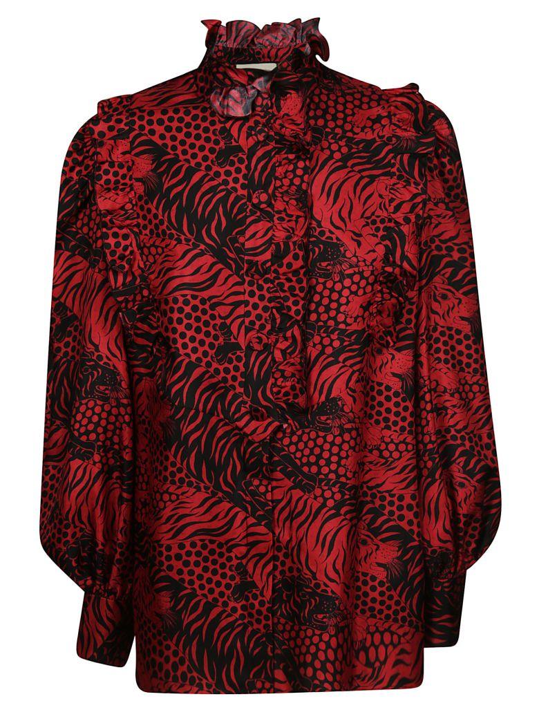 Gucci Tiger Print Blouse - Red prtd/black prtd
