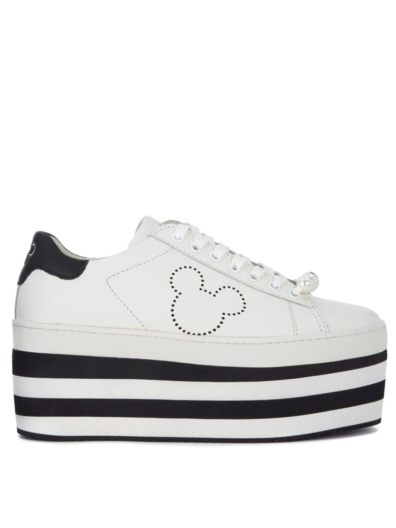 M.o.a. Master Of Arts MOA MICKEY MOUSE WHITE LEATHER SNEAKER WITH PLATFORM