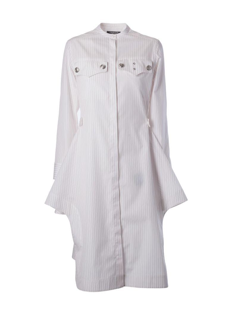 PINSTRIPED POPLIN DRESS