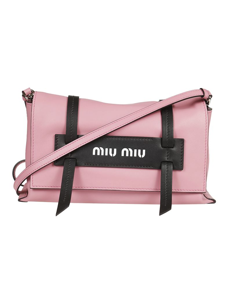 Miu Miu Pink Logo Embossed Leather Shoulder Bag In Pink   Purple ... c5bc4fae56284