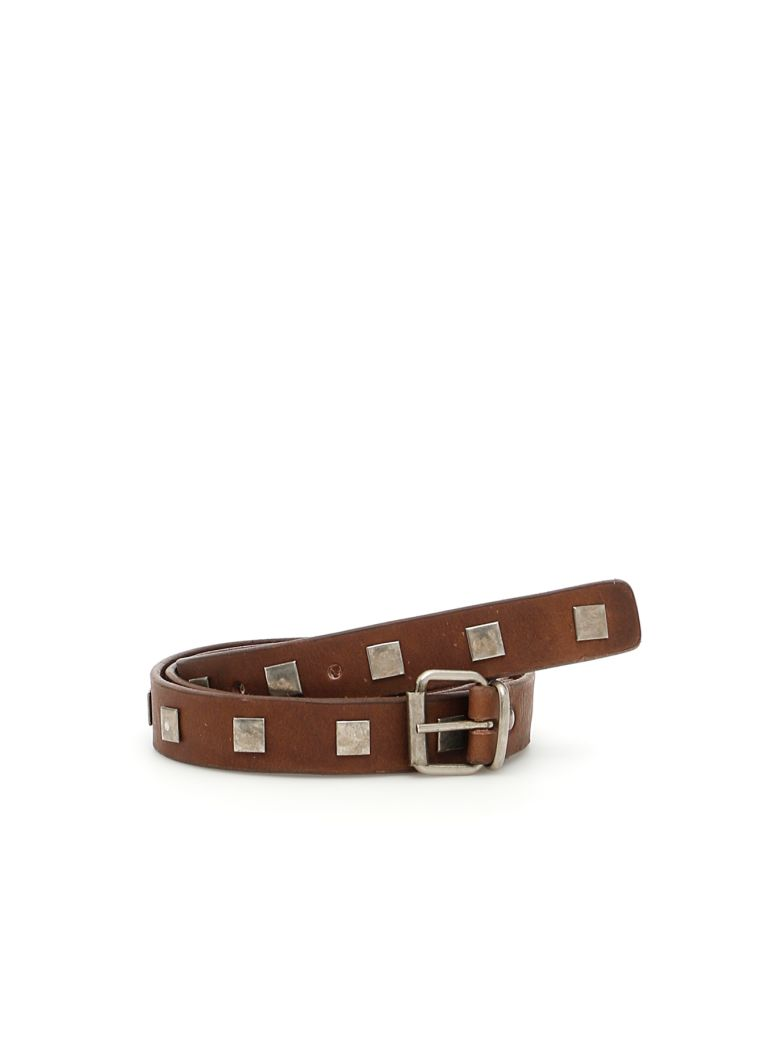 Studded Leather Mike Belt in Moro