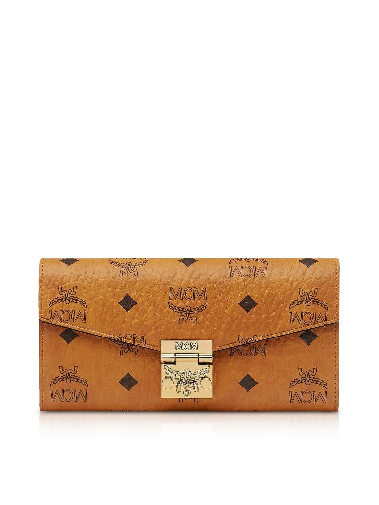 MCM PATRICIA LOGO PRINTED CONVERTIBLE CHAIN CLUTCH, COGNAC BROWN
