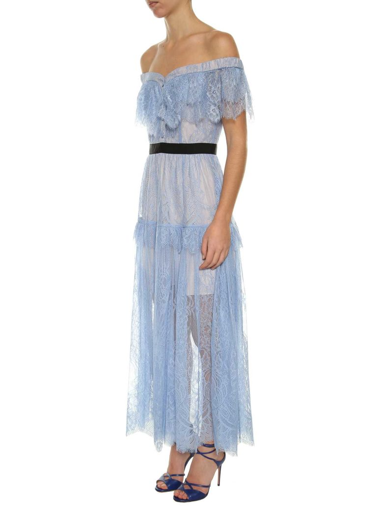SELF-PORTRAIT Off-The-Shoulder Floral-Embroidered Fine-Lace Maxi Dress, Baby Blue