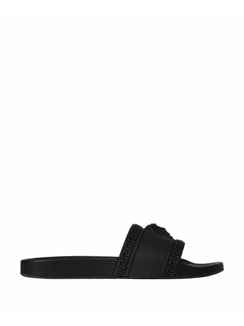 25c085be41239 Versace Men S Medusa   Greek Key Shower Slide Sandals In Black ...