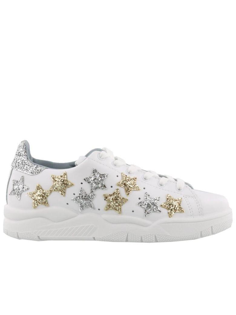 Roger Sneaker In White Leather With Glitter Stars