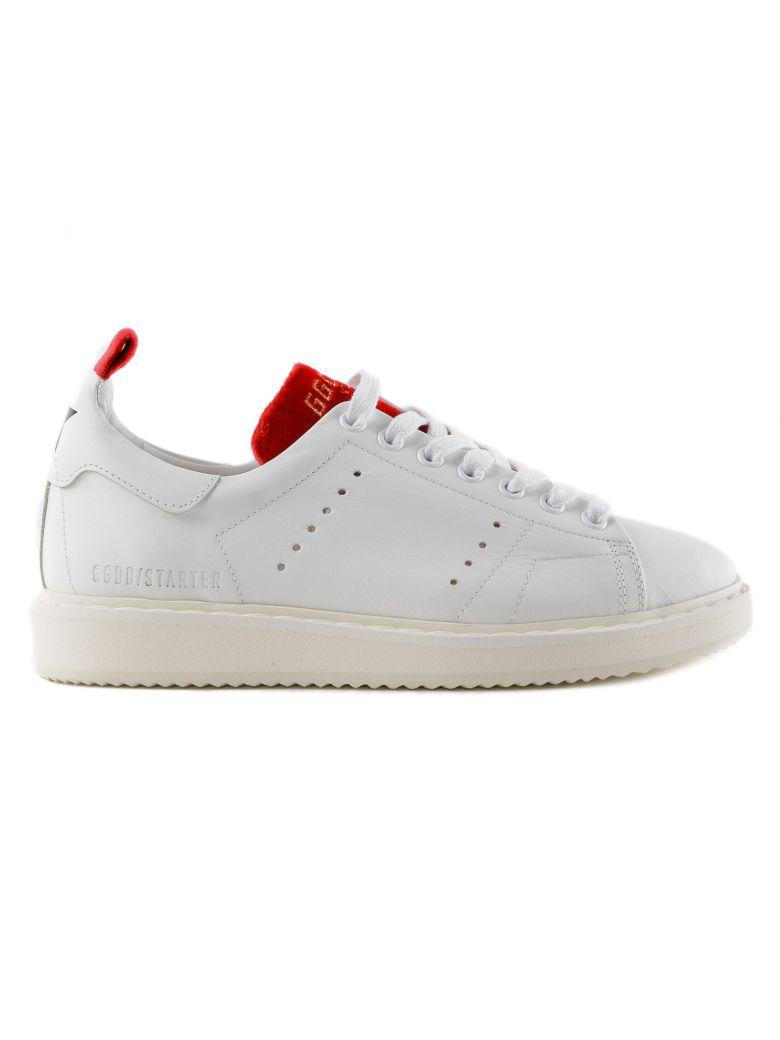 White & Red Starter Sneaker In Leather in Multi