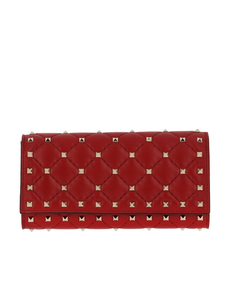 Wallet Valentino Rockstud Spike Wallet In Quilted Nappa Leather With Metal Studs, Red