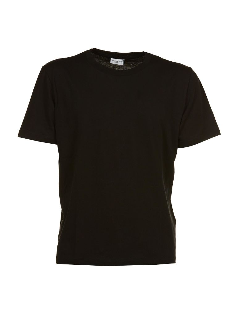 SAINT LAURENT Embroidered Detail Cotton Jersey T-Shirt, Nero