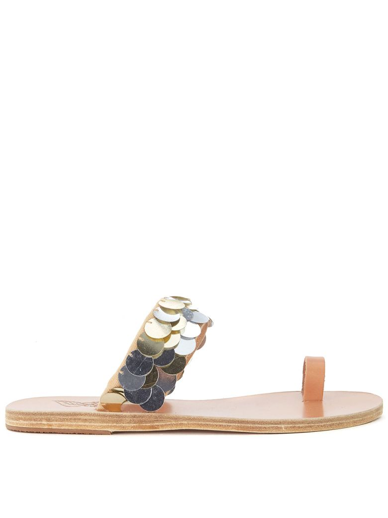 8de863c781e7e Ancient Greek Sandals Ancient Greek Leather Sandals Thraki With Golden And Silver  Sequins In Metallic