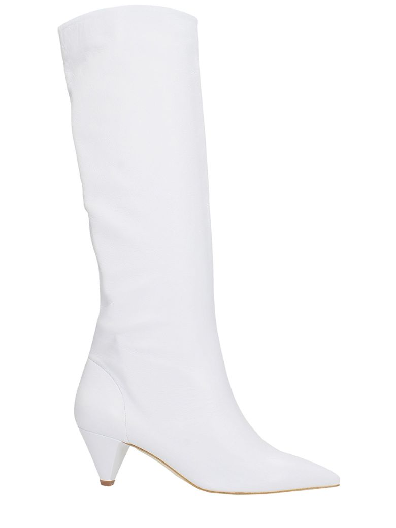 THE SELLER POINTED TOE WHITE CALF LEATHER BOOTS