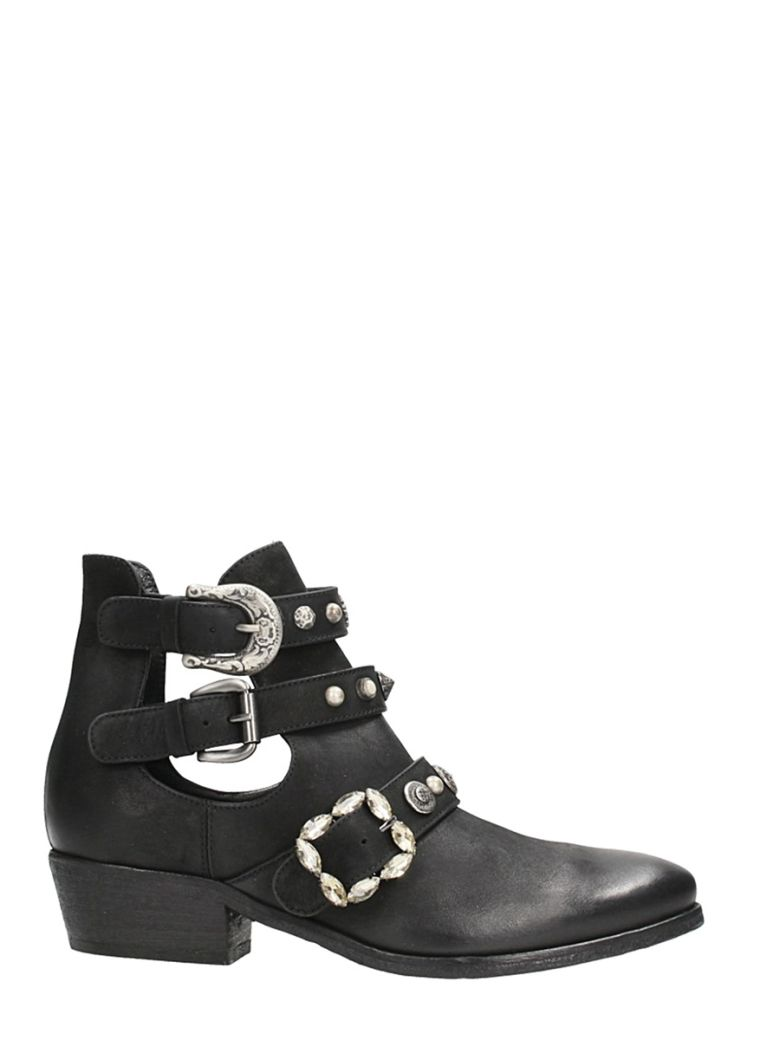 ELENA IACHI OPEN BLACK LEATHER ANKLE BOOTS