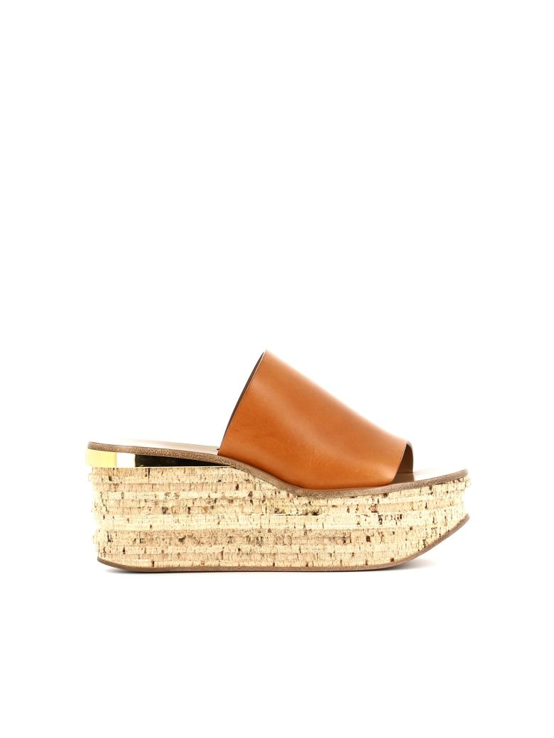 Cork Leather Platform Wedge Sandals in Tan