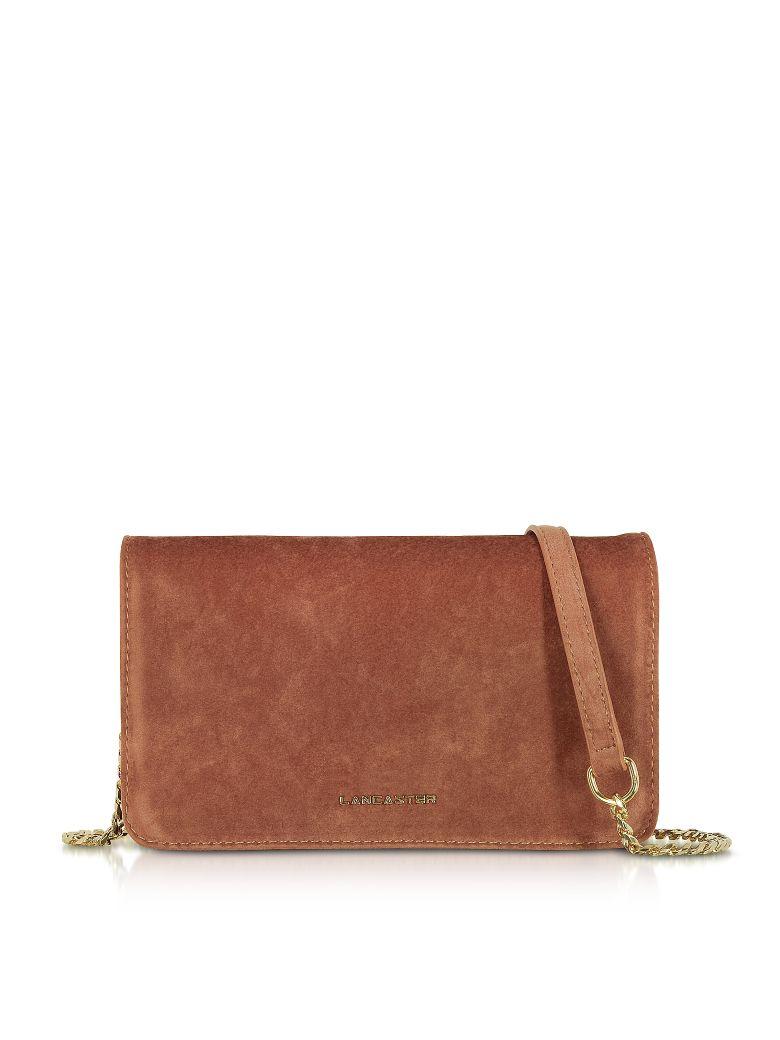 LANCASTER Velvet Flap Clutch W/Strap in Brown
