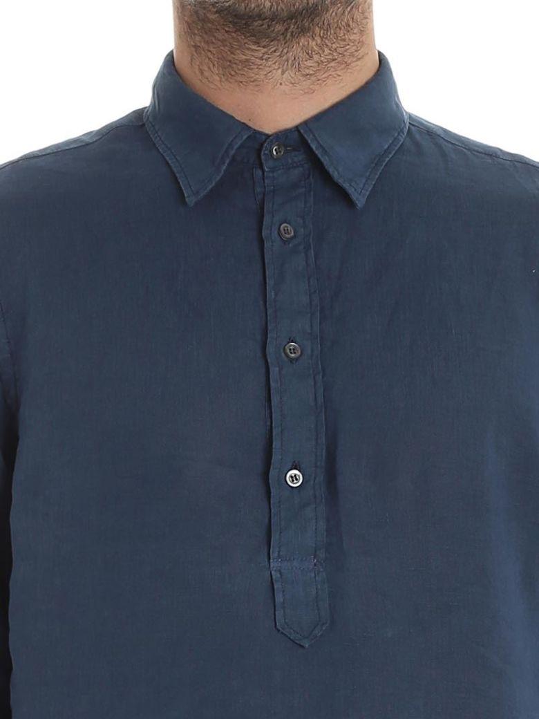 Aspesi Linen Polo Shirt In Blue Modesens