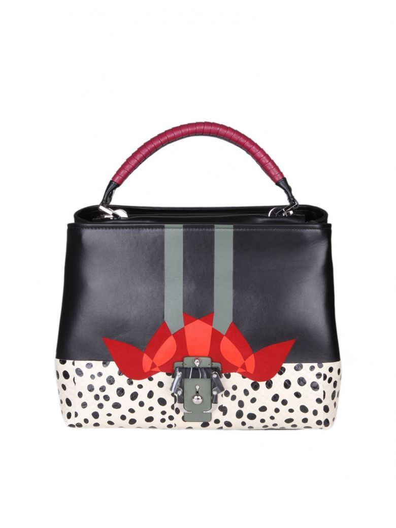 MAE HANDBAG IN LEATHER WITH MULTICOLOR PRINT