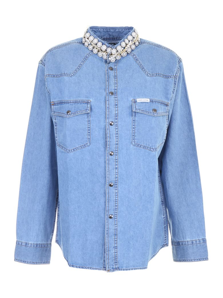 DENIM SHIRT WITH PEARLS AND CHAINS