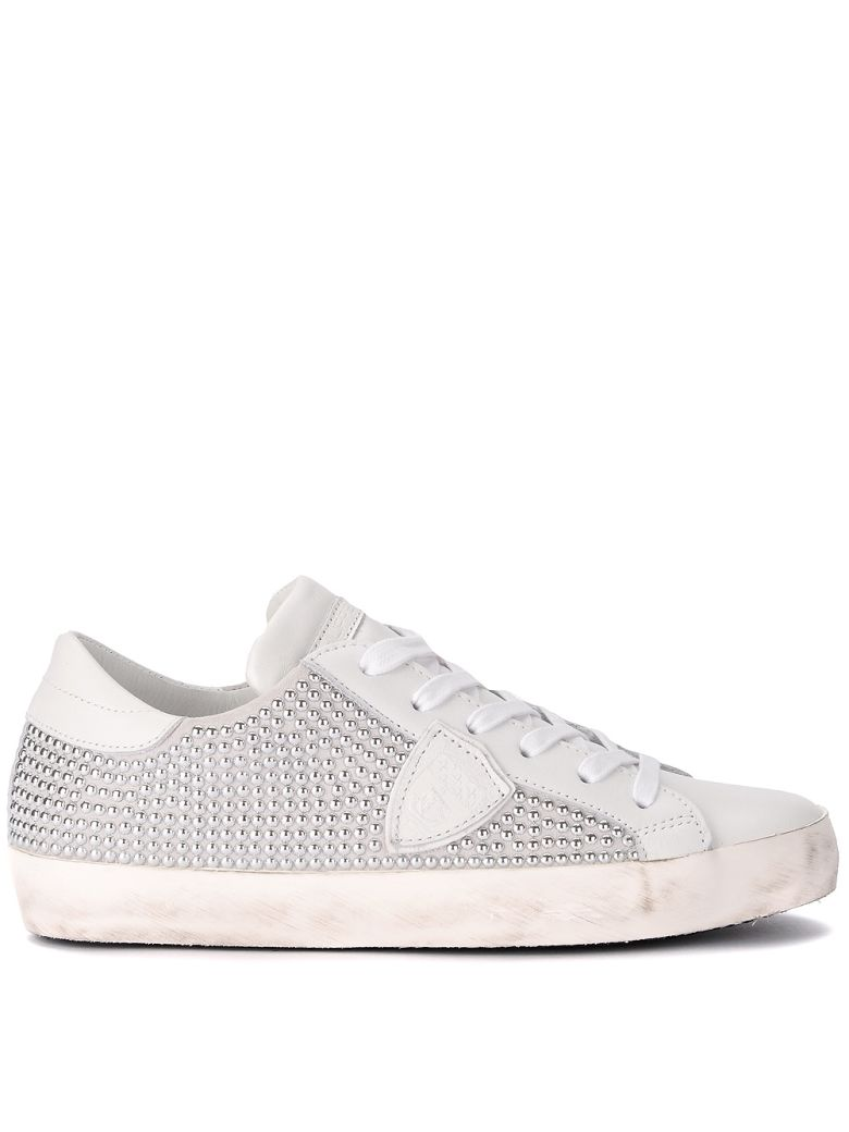 PARIS WHITE LEATHER AND SUEDE SNEAKER WITH STUDS