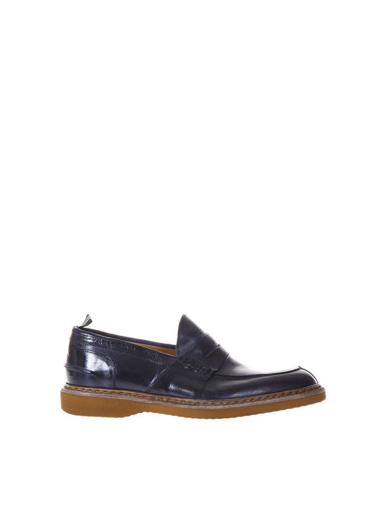 GREEN GEORGE BLUE LEATHER LOAFERS