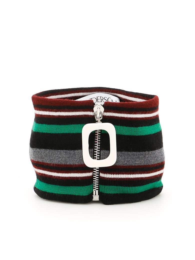 J.W. Anderson Striped Merino Wool Zipped Collar in Mid Grey Mel|Grigio