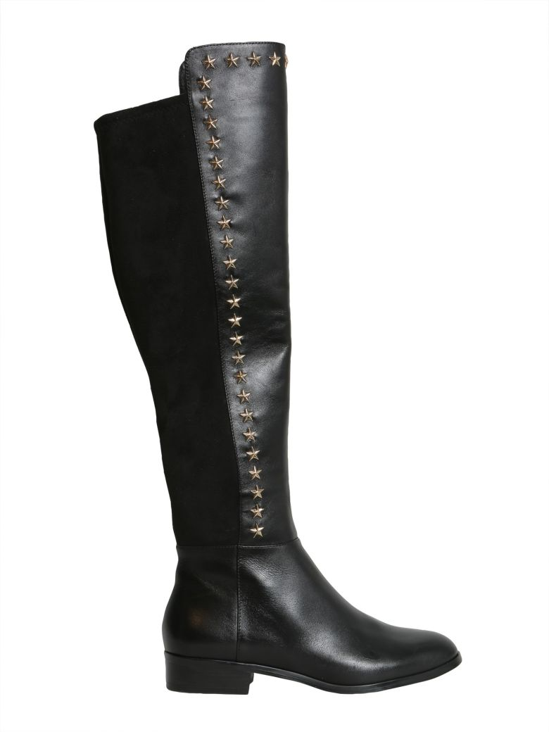 Women'S Bromley Leather & Suede Embellished Tall Boots in Black