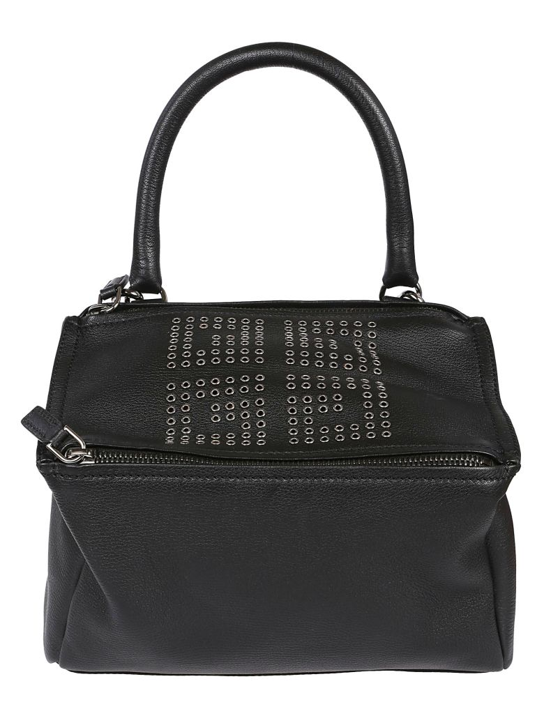 Small Pandora Logo Leather Satchel - Black