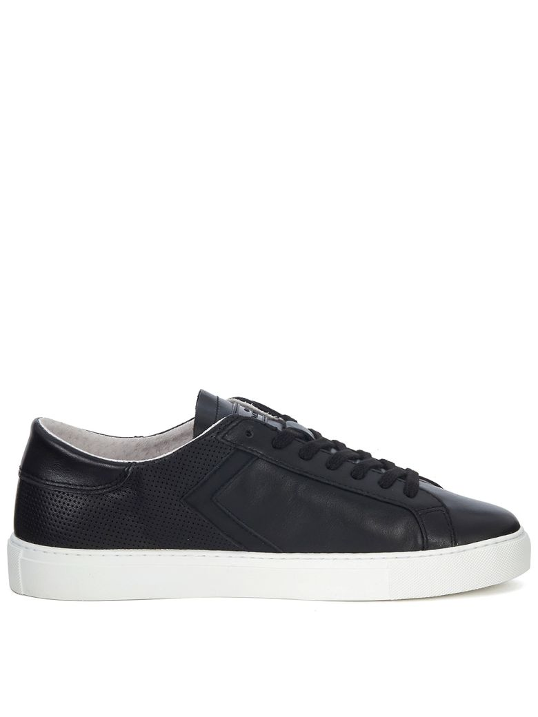 D.A.T.E. NEWMAN HALF PERFORATED BLACK LEATHER SNEAKER