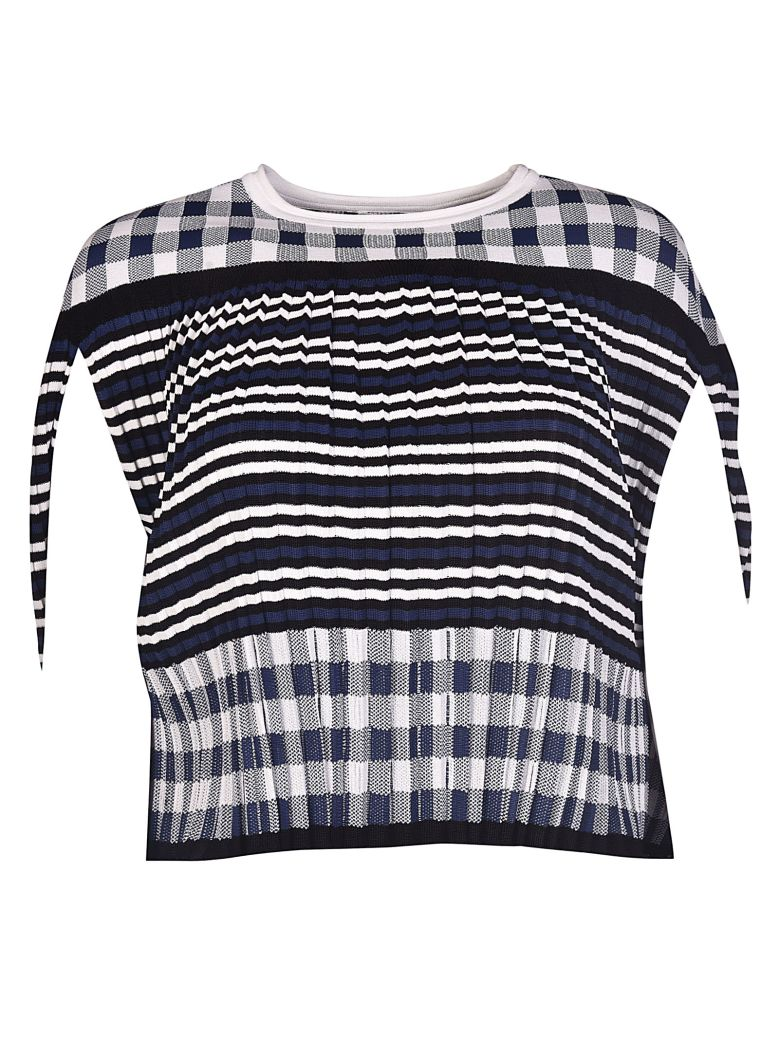 STRIPED AND CHECKERED BLOUSE