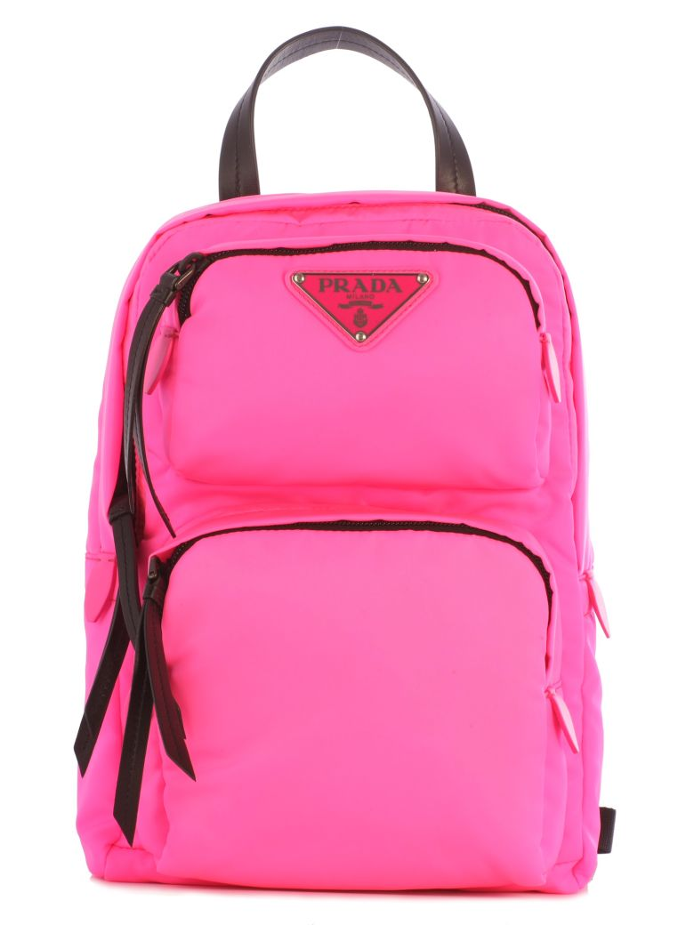 One Strap Double Pocket Backpack in Pink & Purple