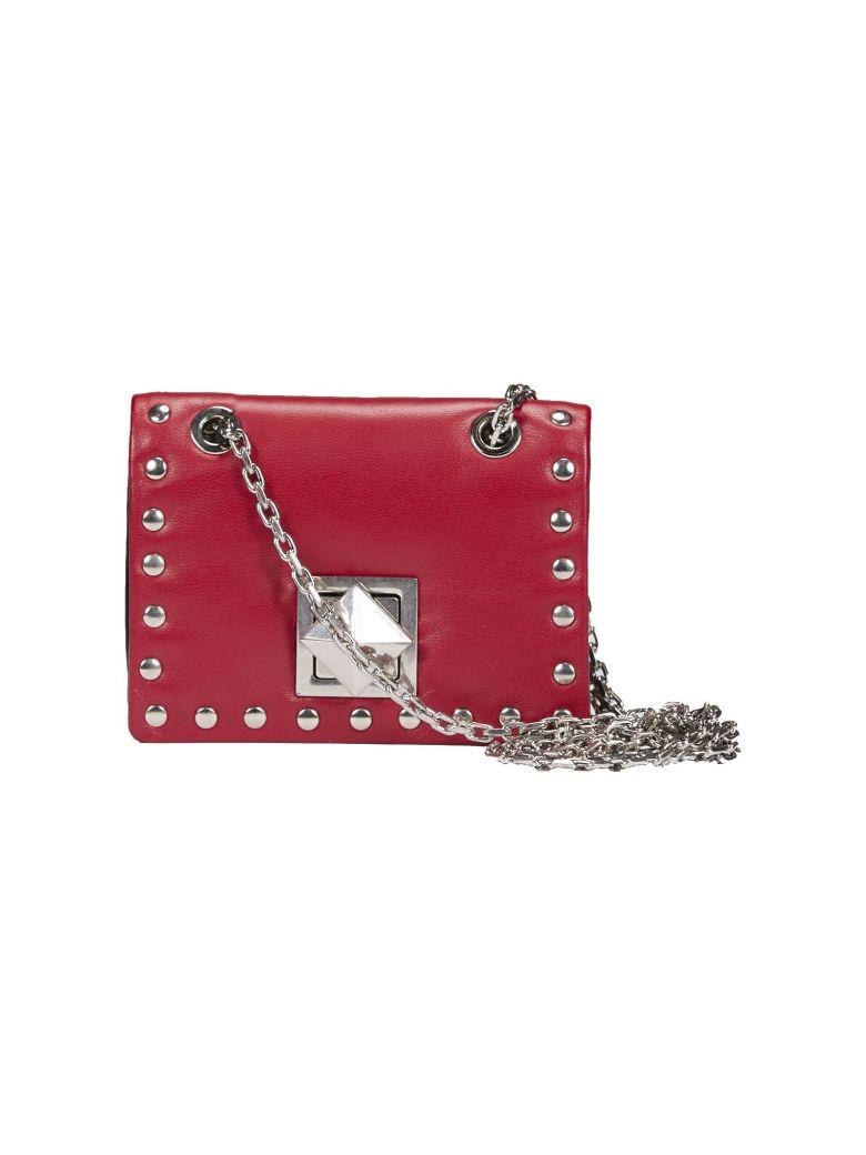 SONIA BY SONIA RYKIEL Sonia Rykiel Studded Mini Shoulder Bag in Nero/Rosso