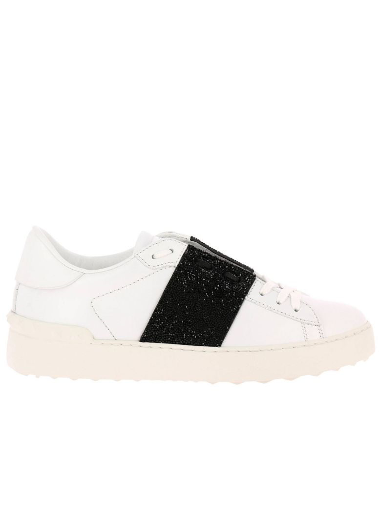 SNEAKERS VALENTINO ROCKSTUD SNEAKERS OPEN WITH MAXI TONE-ON-TONE STUDS AND CRYSTAL ROCK BAND