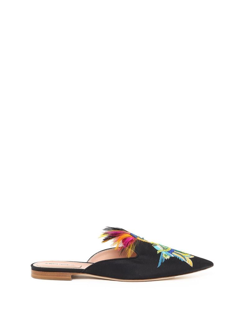 Mia Parrot-Embroidery Shantung Mules, Nero