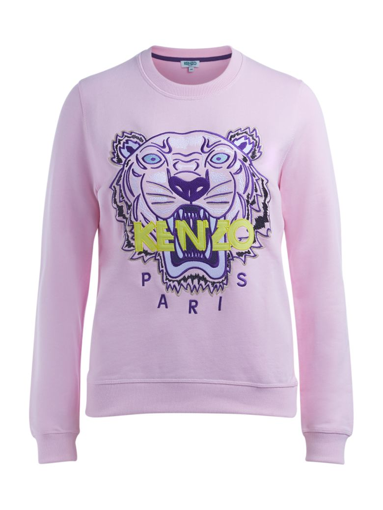 PINK SWEATER WITH MULTICOLORED TIGER