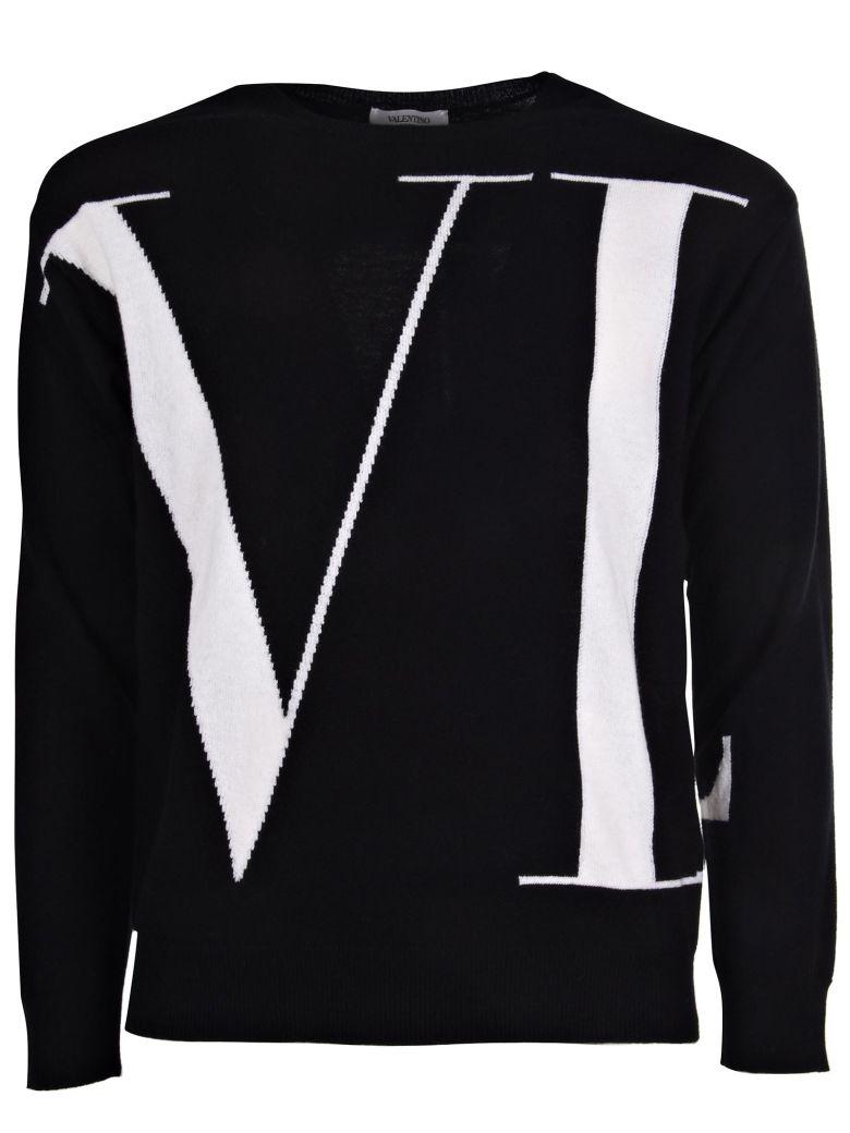 VALENTINO Logo-Print Loopback Cotton-Blend Jersey Sweatshirt, 0No Nero