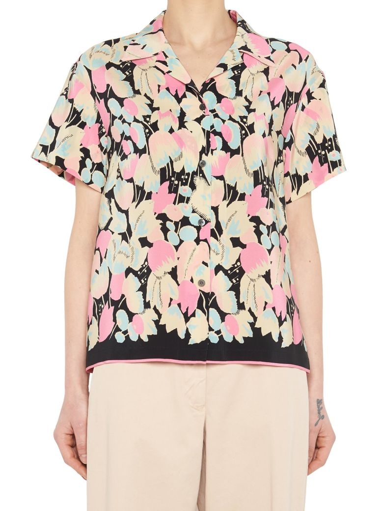 c99525b2c7 Dries Van Noten Black Silk Shirt With All Over Flowers Printed. In Piek ...