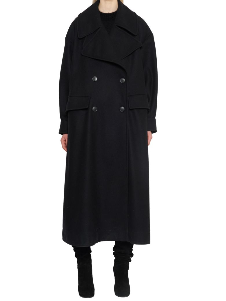 Long Double-Breasted Coat, Black