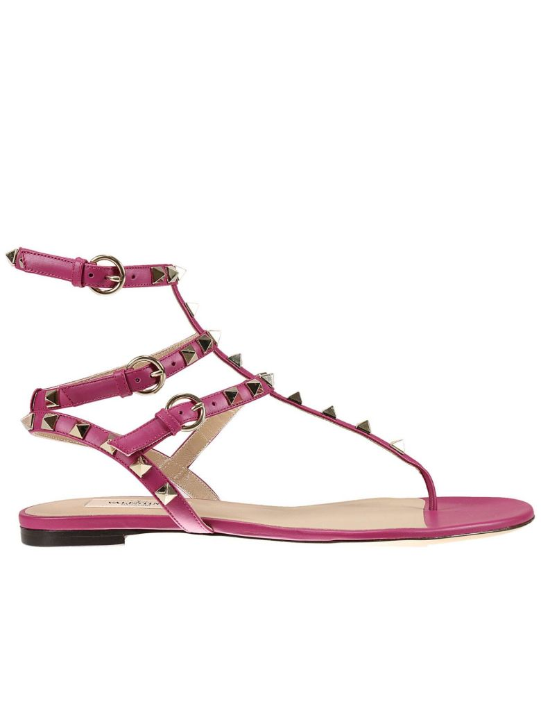 FLAT SANDALS FLAT SANDAL WITH TRIPLE SIDE BUCKLE AND MICRO STUDS