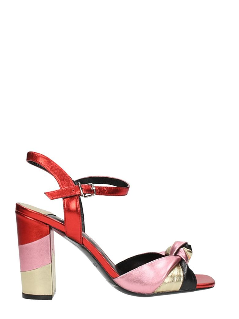 SANDAL IN MULTICOLOR LAMINATED LEATHER
