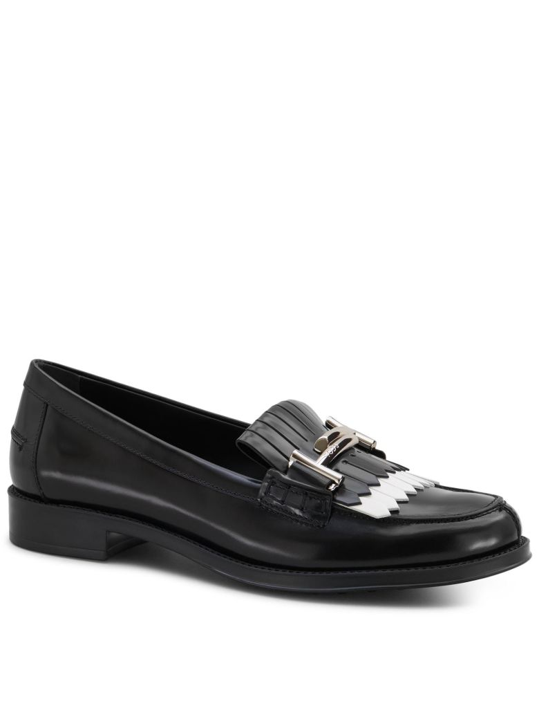 BLACK-WHITE LEATHER LOAFER WITH FRINGES