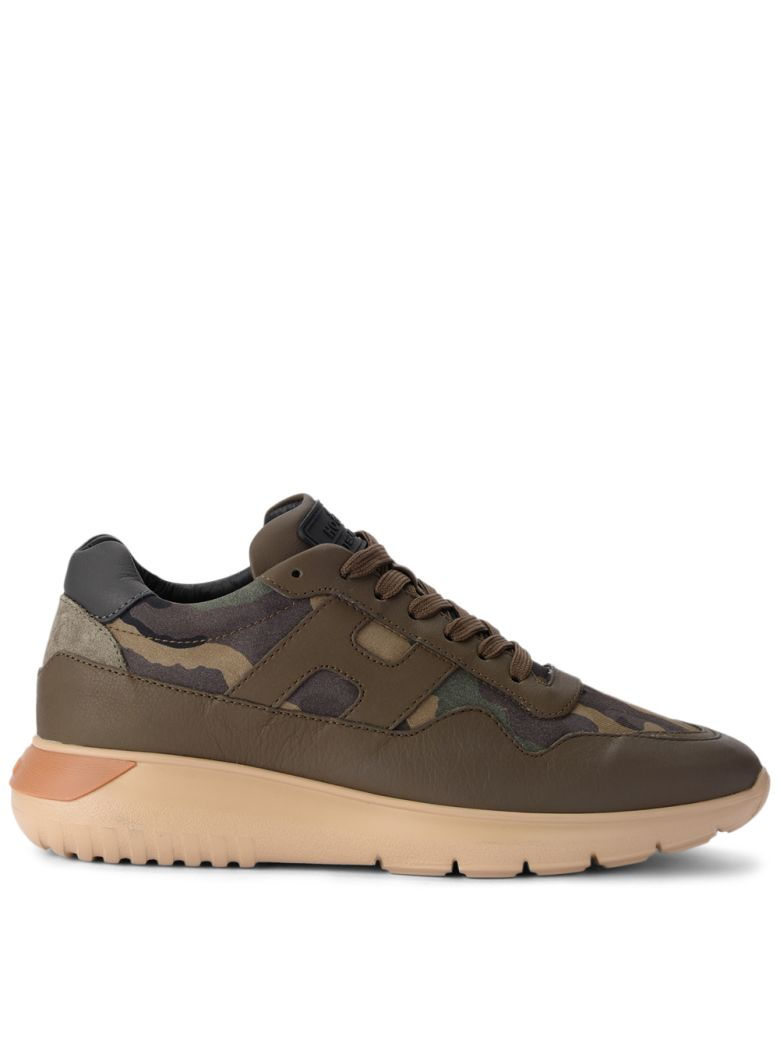INTERACTIVE³ GREEN LEATHER AND CAMOUFLAGE FABRIC SNEAKER